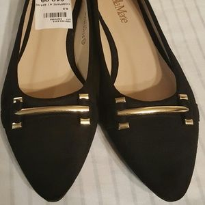 Nako Black Suede women dress flat shoe